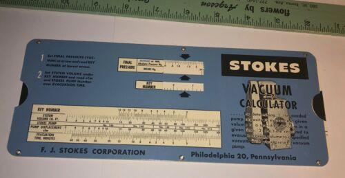 Vintage Slide rule Stokes Vacuum calculator Philadelphia