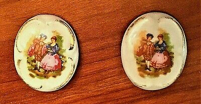 """Vintage Porcelain Clip Earrings-Young Couple In Period Dress-Italy / 1"""" x 3/4"""""""