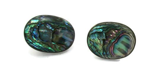 VILLASANA MEXICO 925 Silver - Vintage Abalone Screw Back Earrings Sterling