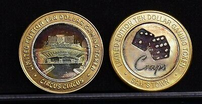 Lot of 2 $10 .999 Silver Strike Casino Tokens-Sam's Town, Circus Circus (CT-1)