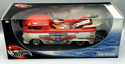 100% Hot Wheels VW Pickup Drag bus 1:18 red and white (Sealed)