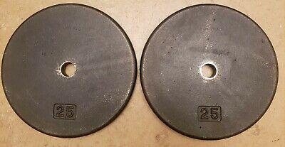 Pair of 2.5 lb Pound Weight Plates Standard Hole Iron Pancake Style Vintage