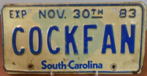 USC GAMECOCKS, Official State Issued 1980 - 1983 Vanity License Plate COCKFAN