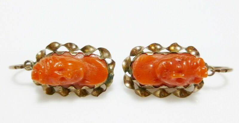 VICTORIAN ROLLED GOLD FILLED GF CORAL CAMEO ESTATE ANTIQUE PIERCED EARRINGS