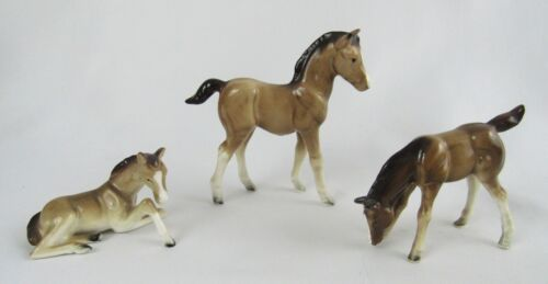 Vintage Lot of Three Porcelain Japan Roan Horse Colt Figurine - Nice Group!