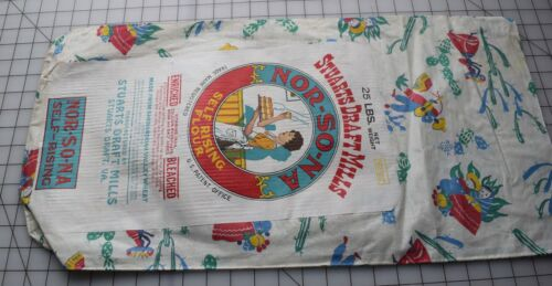 8367  Large piece of Antique Nor-So-Na flour sack,Nice label, Mexican designs