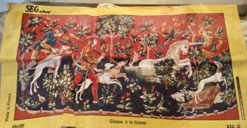 SEG de Paris Large Needlepoint Tapestry Canvas  120 x 65 cm Chase of Unicorn