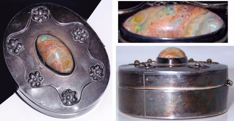 Sterling Silver Opal Pill Box Matrix Cantera Bernice Goodspeed Taxco Mexico 36g