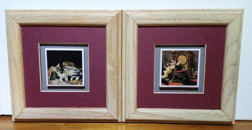"""Adorable BB Black & White Cat Tile Framed Plaque Set 6"""" Adorable!!!!"""