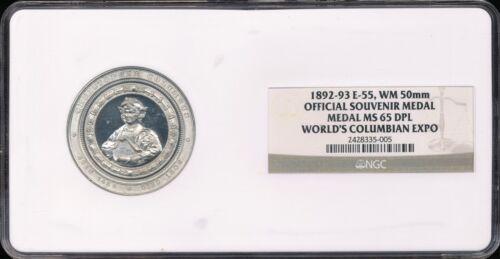 1892-93 Columbian Exposition Official Souvenir Medal E-55, WM 50mm NGC MS65DPL