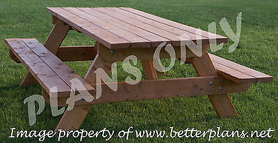 PLANS to build beautiful strong picnic table for 6 (patio funiture, wooden) ()