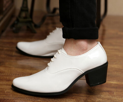 Men/'s Pointed Toe Wedding Lace Up Cuban Heel Leather Formal Dress Casual Shoes