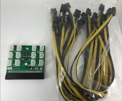 1200W Breakout Board W Button For HP PSU GPU Mining Ethereum + 12x 8Pin -