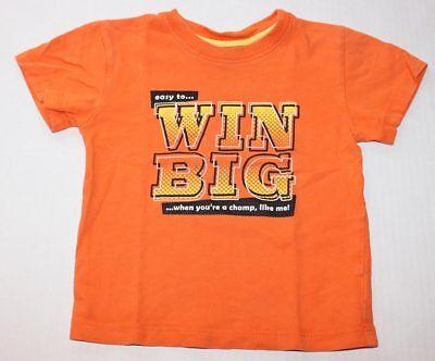 Baby Boy 18 Months 18M GUMBALLS Orange Shirt Short Sleeve WIN BIG CHAMP LIKE ME