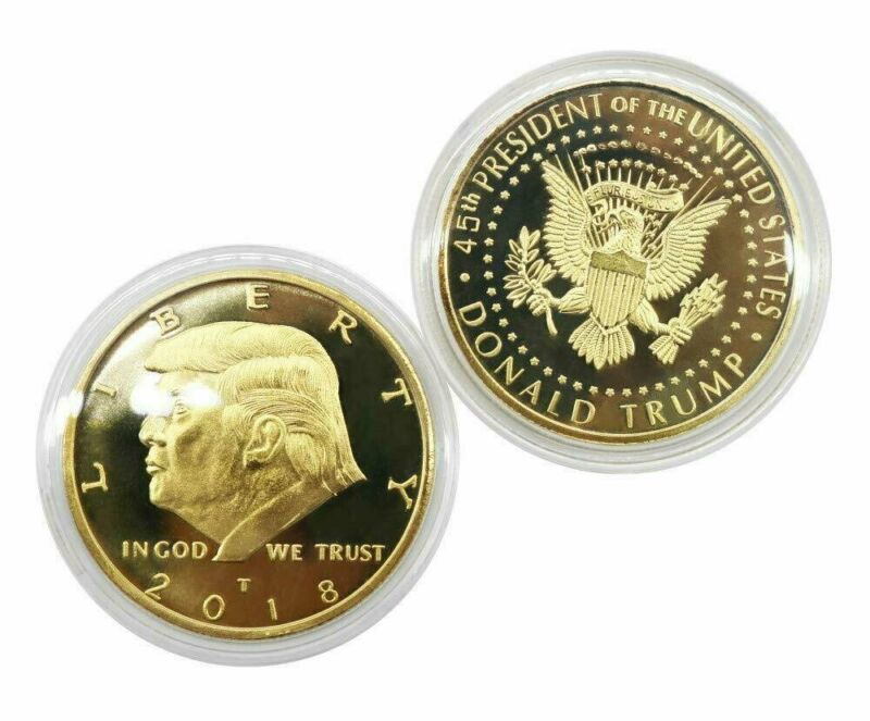 2018 President Donald Trump Gold Plated EAGLE Commemorative Coin Republican