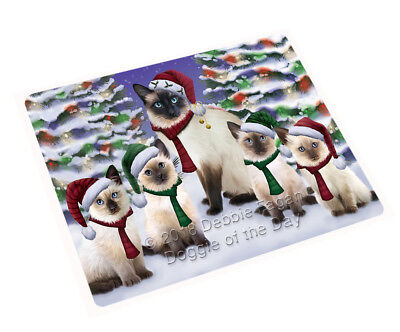 Siamese Cats Christmas Family Portrait in Holiday Scenic Blanket BLNKT90759 ()