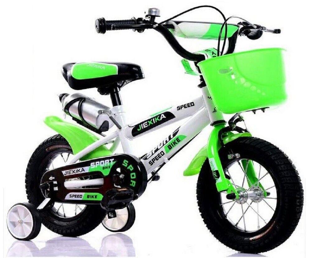 12 Zoll Kinderfahrrad mit Stützräder Korb Flaschenhalterung unisex weiß-grün