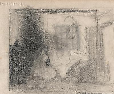 IMPRESSIONIST FIGURES IN ROOM Pencil Drawing GEORGES VERCRUYSSE c1940