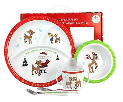 Santa Rudolph Reindeer Baby 5 Pc Feeding Gift Set Plate Cup Bowl Flatware Unisex
