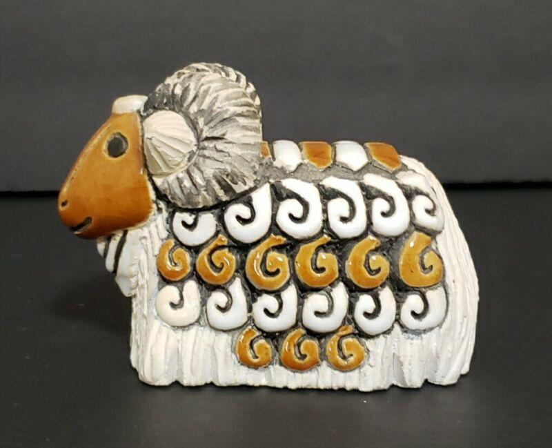 "Artesania Rinconada Hand Made in Uruguay Ram Sheep Figurine 3 6/8"" Across"
