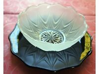 13-piece Water Lily Vintage Dessert Set - 6 x Frosted Glass Bowls sitting on Black Glass Plates