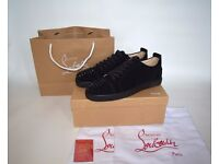 Christian Louboutin Christmas Package Low Black Suede Spike Sneakers UK7.5 / UK8