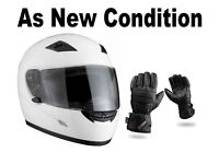 Motorbike, Motorcycle Helmet and Leather Gloves. 6 Month Old - As New Condition. Sizes - Medium.