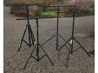 Four Lighting Stands with T-Bars, Used but in good condition