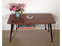 Original mid-century retro coffee table with magazine rack 1960s 1970s with Dansette legs