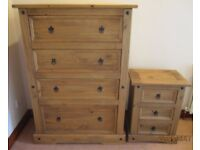 Solid Pine Chest of Drawers and Side Tables