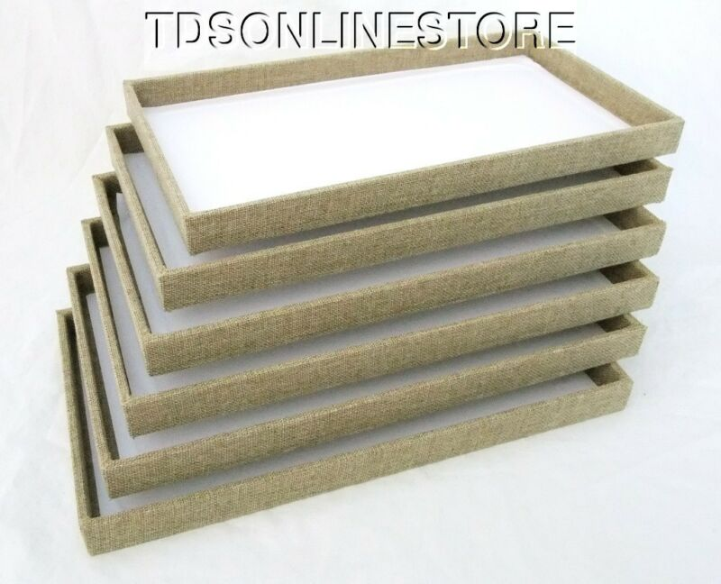 LOT OF 6 LARGE WOOD JEWELRY TRAYS BURLAP COVERED