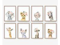 A4 - Set of 3 or 6 Safari Animal, Nursery decor, wall art, prints, poster.