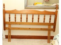 Solid wood pine Doublebed Headboard, sidetable, dressing table and mirror.