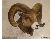 Original Acrylic Ram Painting