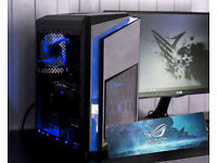 AURA SYNC Blue Gaming Computer PC Intel Xeon 3.20 GHZ Quad Core 8 Threads!GTX 1050ti Strix 12GB Ram