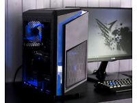 Gaming Computer PC Intel Quad Core 12GB Ram GTX 1050ti Windows 10 Home Blue LED lights