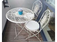 2-seater Bistro dining set with cushions - folding - antique cream - outdoor furniture