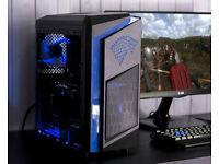 Custom Stark Gaming Computer Intel Quad Core 12GB Ram GTX 1050ti Windows 10 Home Blue LED lights