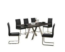 NEW (WAS £699) Large 6 Seater Dark Hard Wood Dining Table with Nickel Brushed Legs 6 Leather Chairs