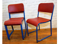 27 available red blue stacking vintage chairs antique dining kitchen industrial restaurant retro