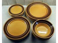 24 Vintage KILNCRAFT Brown Dinner Ware 6 Dinner 6 Salad 6 Tea Side Plates & 6 Bowls Collection Only