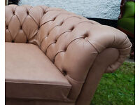 2x LEATHER CHESTERFIELD 2 SEATER + 3 SEATER SOFA BED BESPOKE from £275