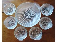 Retro 1960's Anchor Hocking Textured Clear Glass Clam Shell Fruit Dessert Serving Bowl & Six Dishes