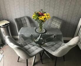 Brand new boxed grey velvet chairs