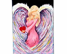 Large angel glitter painting