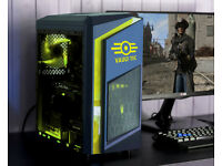 Custom Fallout Gaming Computer Intel Quad Core 12GB Ram GTX 1050ti Windows 10 Home Yellow LED lights