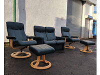 2+1+1 Dark green Ekornes style leather recliner set DELIVERY AVAILABLE