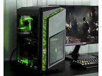 Camo Gaming Computer PC Intel Quad Core 12GB Ram GTX 1050ti Windows 10 Home GreenLED lights