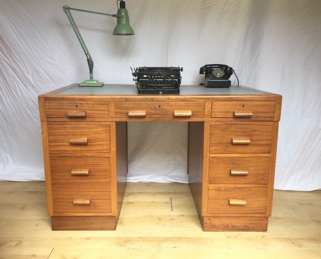 Vintage old school mid century 1950s 1960s Art Deco desk | in ...