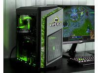 Custom Camo Gaming Computer Intel Quad Core 12GB Ram GTX 1050ti Windows 10 Home Green LED lights